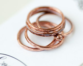 Copper Stacking Rings Set of 3 Mix Textures Copper Rings