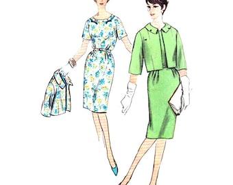 Simplicity 4316 Half Size Slenderette - Misses' One-Piece Dress, Jacket - estimated Vintage 1950's  Size:  Half Size  16.5  Bust 37  Used