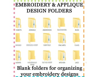 PC Empty Embroidery Machine Computer File Folders to organize your embroidery & applique files, over 600 empty File folders instant Download