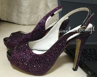 Women Pumps High/low Heels Dark Purple Crystal Rhinestone Prom