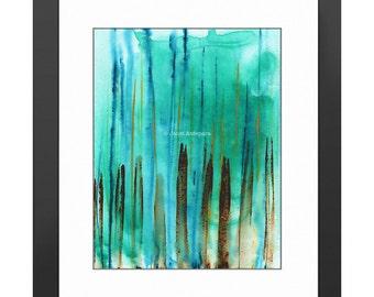 Beach Fence Art Print, Abstract Art, Modern Art, Abstract Painting, Turquoise Art, Turquoise Decor, Wall Art, Decor, Aqua Painting, Blue