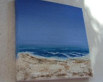 """Beach painting """"Sea"""" 20/20 cm sand"""