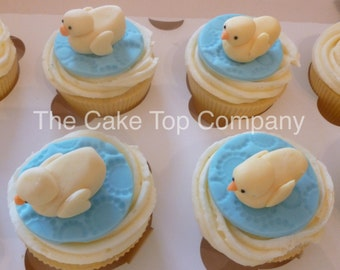 Yellow Duck  Cupcake Toppers  - birthday, baby shower, christening