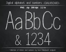 Chalkboard alphabet clip art. Chalk letters & numbers clipart. Digital chalk board alphabet, numbers, symbols font.  Instant download PNG.