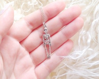 Silver Skeleton Necklace   Creepy Necklace    Grungy Necklace   Halloween Jewellery   Skeleton