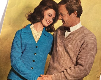 Vintage 1960s  knitting pattern lady's jacket, mans pullover, Original 60s Pattern
