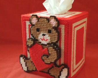 Valentine Bear With Heart Tissue Box Cover