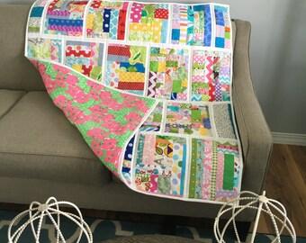 Scrap quilt , READY TO SHIP , Modern baby quilt ,mat for baby ,crib blanket ,modern quilt ,