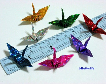 "100pcs Assorted Colors Origami Cranes Hand-folded From 1.5""x1.5"" Square Paper. (4D Glittering paper series). #FC15-05."