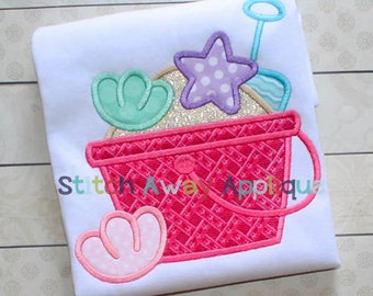Sand Pail Sand Bucket Sea Shell Beach Summer Machine Applique Design