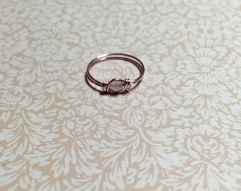 Sweet pink wire with pink quartz ring