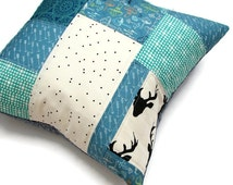 Woodland Pillow Cover, Quilted Pillow Sham, Patchwork Pillow Cover 18x18, Cushion Cover, Geometric Pillow