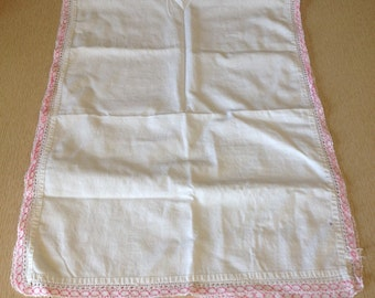 Vintage Table Runner White with Pink Embroidered Border