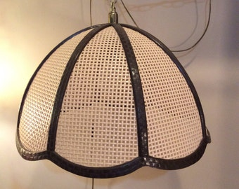 Vintage Plastic Swag Wicker Look Hanging Lamp