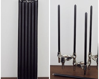 "Set 12 Candles black * 11.8"" long * Ø 0.5"" Ø 1.2 cm suitable for BMF * NAGEL * QUIST stackable Candle Holders * Mid Century Home"