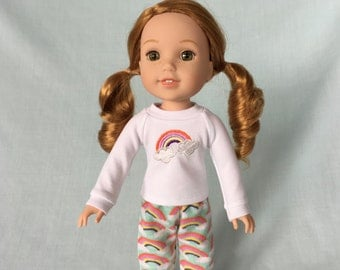 Rainbow Pajamas for Wellie Wisher/14.5 Inch Doll