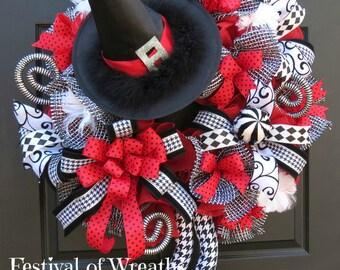 Halloween Wreath - Halloween Decoration - Halloween decor - Halloween Door Wreath - Halloween Witch Wreath - Fall Wreath