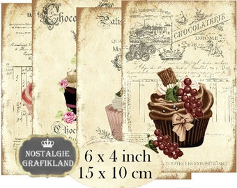 Patisserie printable Cupcakes French Cakes Bakery 6 x 4 inch Instant Download digital collage sheet D246