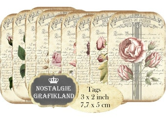 Shabby Chic Tags printable digital Flowers Belle Jardiniere Roses Fleurs Instant Download digital collage sheet Tags T097