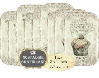 Patisserie Cupcakes digital Tags Cakes Dessert Muffins Lace Instant Download digital collage sheet T159