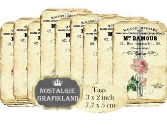 French Maison Roses Instant Download digital collage sheet digital Tags Grainsack Flowers strips T174