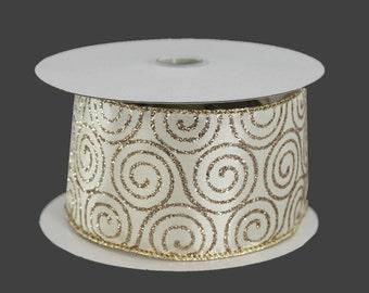 10 yards Ivory Gold Swirl Wire Edge Ribbon - Ribbon for Wreaths, Wedding Bow Ribbon, Gold Christmas Ribbon, Pew Bow Ribbon