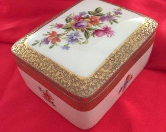 Vintage German Porcelain Golden Accents Jewelery Powder Box