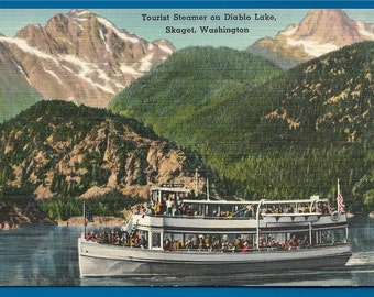 Vintage Linen Postcard - A Boat Full of Tourists on Diablo Lake   Skagit, Washington  (1797)