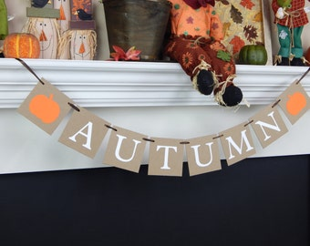 autumn banner, fall pumpkin banner, halloween decor, fall mantel banner, fall decor, fall decorations, fall banner, Thanksgiving banner