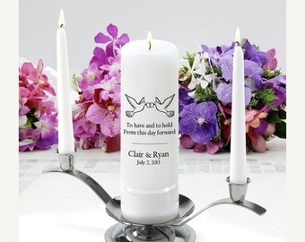 Personalized Wedding Unity Candle Set - To have and to hold_330