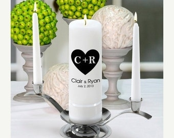 Personalized Wedding Unity Candle Set - Carved Hearts_330