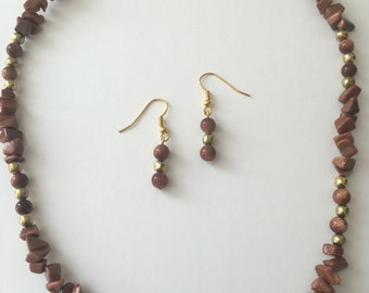 Goldstone Necklace and Earrings Set
