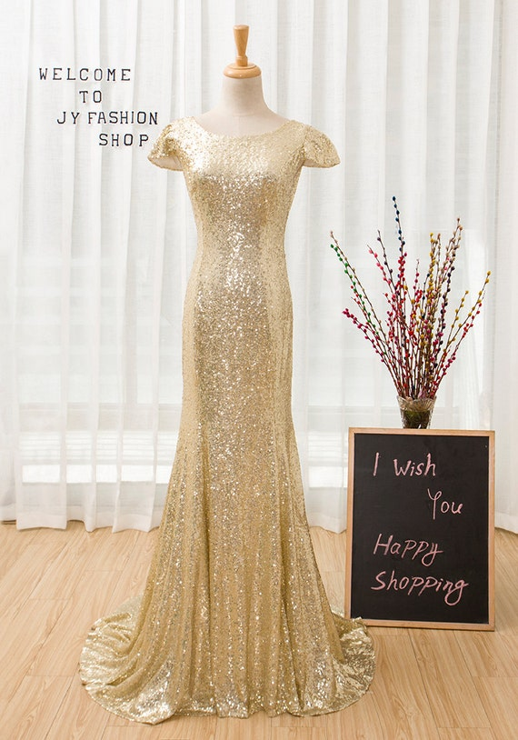 Sexy Gold Sequin Prom Dress,Long Round Neck Bridesmaid Dress,Fashion Mermaid Chapel Train party Dress,Sequin Formal Dress
