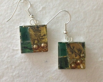 Mosaic stained glass earrings, green and gold handcut Van Gogh mosaic glass tile, gold glass pearl beads and resin