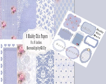 Pretty Blue Shabby Chic Papers and Mats (DOWNLOAD)