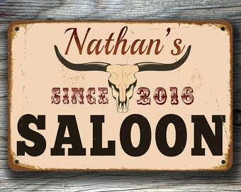 CUSTOM SALOON SIGN, Customizable Saloon Signs, Vintage style Saloon Sign, Personalized Saloon sign, Saloon Name Signs, Gift for Him, Saloon