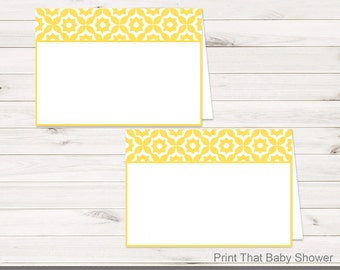 Baby Shower Food Tent Labels - Yellow Geometric Baby Shower - Printable Food Labels - Geometric Place Cards - Food Labels - Yellow Geometric