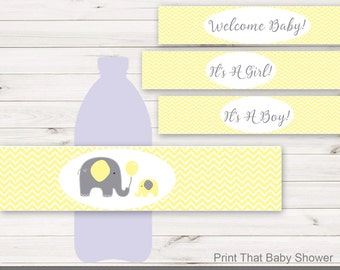 Baby Shower Water Bottle Labels   Elephant Baby Shower Decorations    Printable Water Bottle Labels