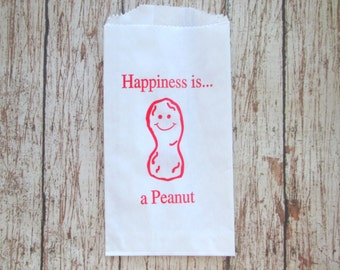 Peanut Bags, Baseball Party Favor Bags, Circus and Carnival Themed Party Bags, Food Bag, Party Bag, White with Red Print