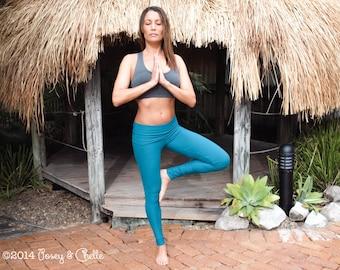 Fold Over Yoga Wasitband Long Leggings, Luxurious Bamboo Organic Cotton Women's Leggings ~ Yoga, Fitness, Travel