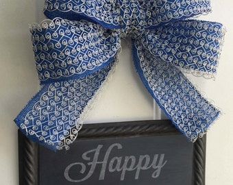 Hanukkah Sign -  Door Hanging Sign - Happy Hanukkah Decoration - Painted or Plain to Write your own message - Blue and Silver Bow