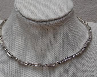 "Silver & Rhinestone Pave Elegant 16"" Necklace"