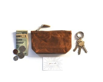 77fa492a39 Tiny waxed canvas pouch tobacco brown   waxed fabric zipper pouch   waxed  cotton pouch with elk antler zipper pull   coin purse antler