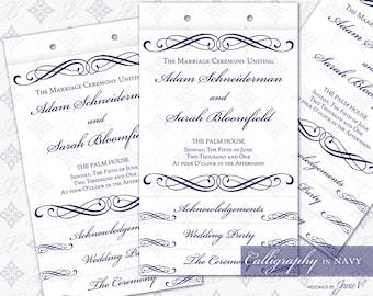 DIY Printable Wedding Ceremony Program Template | Printable Layered Ceremony Program | Calligraphy in Navy