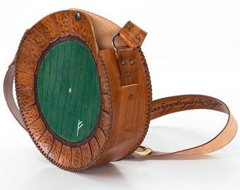 Green door bag-Hobbit inspired Bag End Leather Bag-FREE EXPRESS SHIPPING-Baggins Door-Lotr-Tolkien Bag- Gandalf Rune Geekery