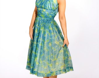 Vintage 1950s green chiffon printed prom evening dress size s-m