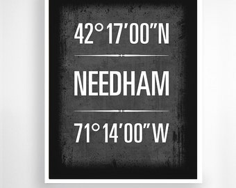 "Needham, Massachusetts Geographic Coordinate Print,  8"" x 10"" or 11"" x14"""