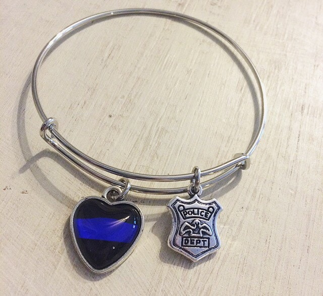 thin blue line charm bangle blue lives matter badge