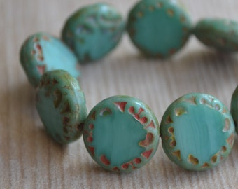 6 Turquoise Green Czech Picasso Coin Beads 14mm (136-6)