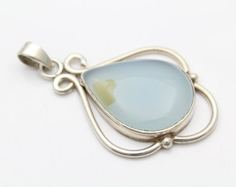 Large Artisan-Crafted Pendant with Pear-Shaped Cloudy Agate in Sterling Silver. [10753]